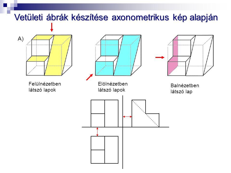 Vetületi ábrák készítése axonometrikus kép alapján A) Elölnézetben látszó lapok Felülnézetben látszó lapok Balnézetben látszó lap