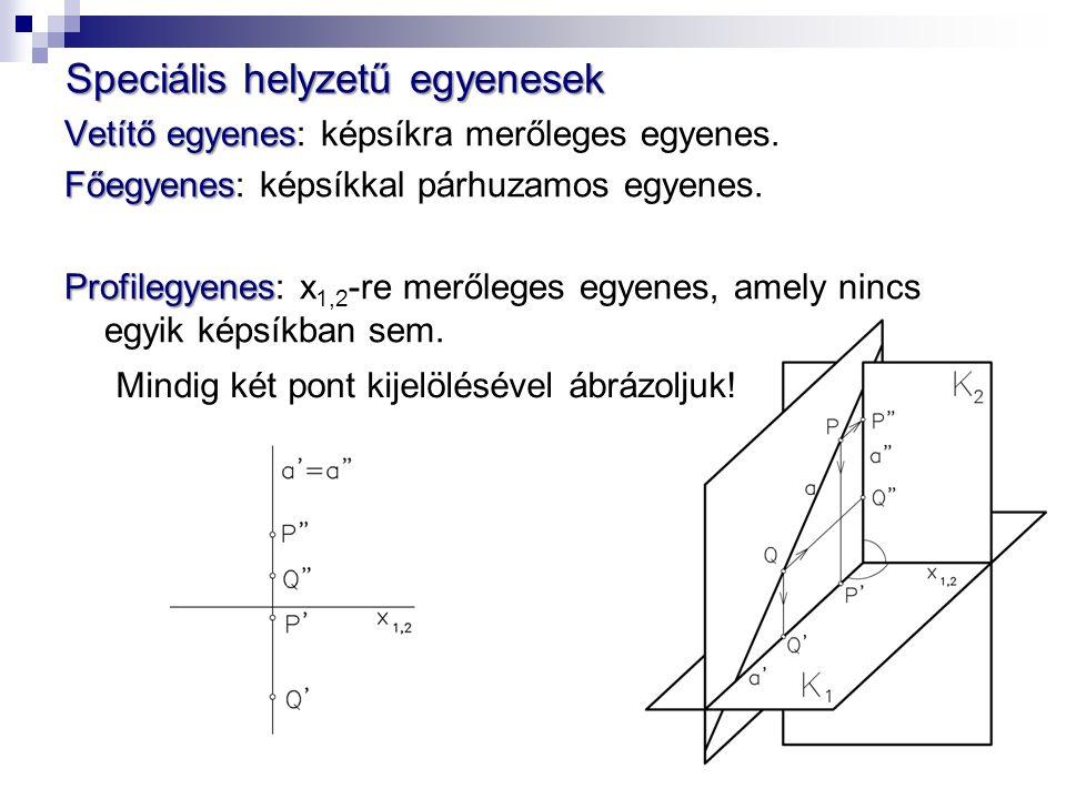Vetítő egyenes Vetítő egyenes: képsíkra merőleges egyenes.