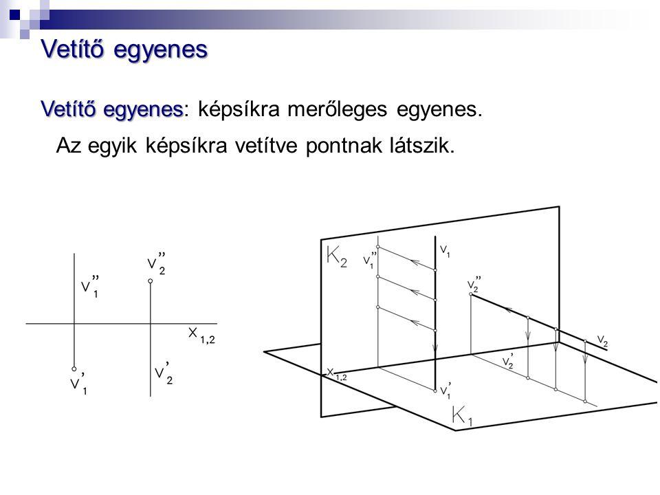 Vetítő egyenes Vetítő egyenes Vetítő egyenes: képsíkra merőleges egyenes.