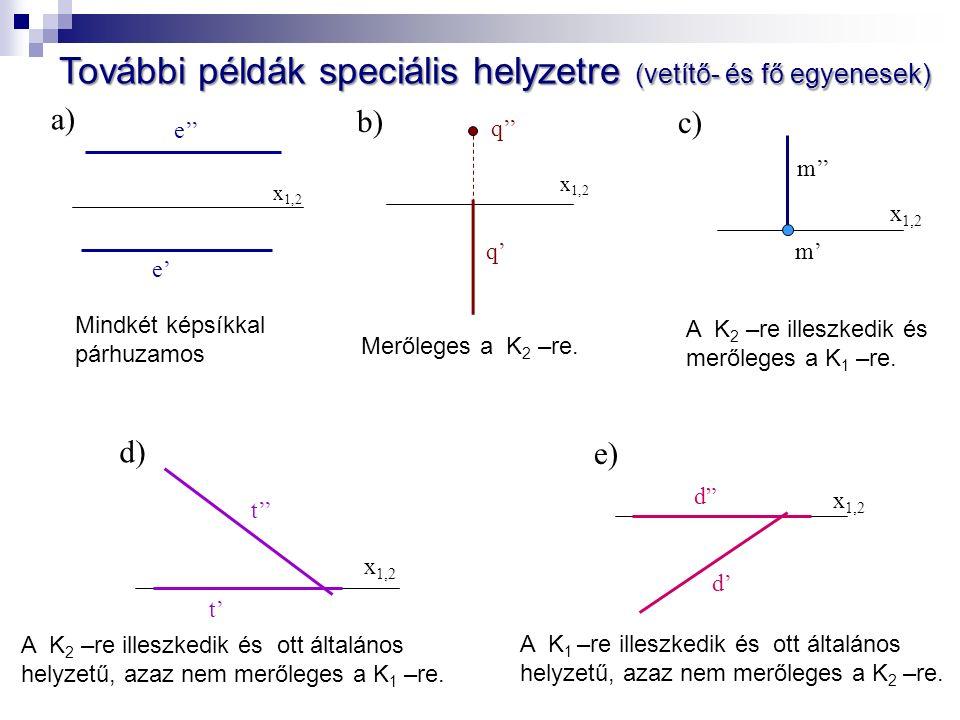 e' x 1,2 e'' a) Mindkét képsíkkal párhuzamos x 1,2 q'' q' b) Merőleges a K 2 –re.