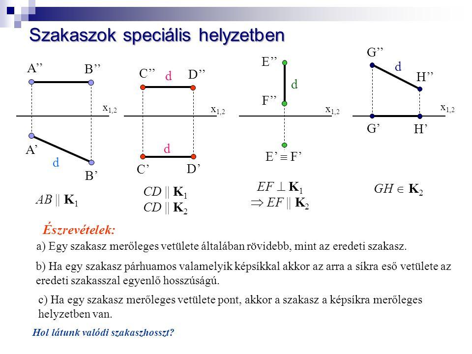 x 1,2 A' B' A'' B'' AB || K 1 x 1,2 C' D' C'' D'' CD || K 1 CD || K 2 x 1,2 E'' F'' E'  F' EF  K 1  EF || K 2 x 1,2 G' H' G'' H'' GH  K 2 b) Ha egy szakasz párhuamos valamelyik képsíkkal akkor az arra a síkra eső vetülete az eredeti szakasszal egyenlő hosszúságú.