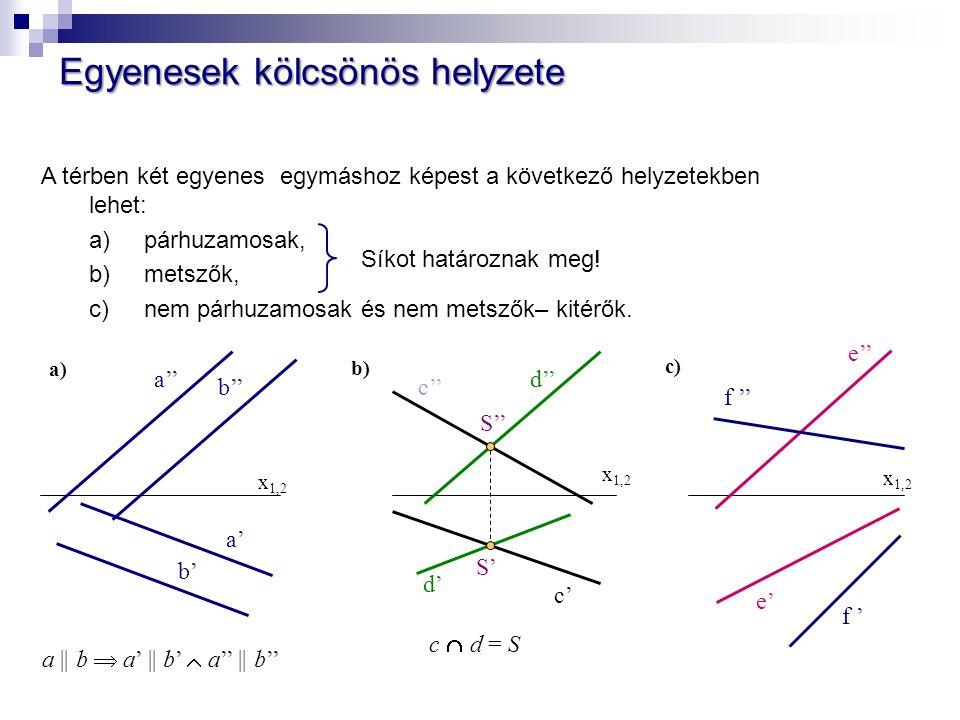 Egyenesek kölcsönös helyzete A térben két egyenes egymáshoz képest a következő helyzetekben lehet: a) párhuzamosak, b) metszők, c) nem párhuzamosak és nem metszők– kitérők.