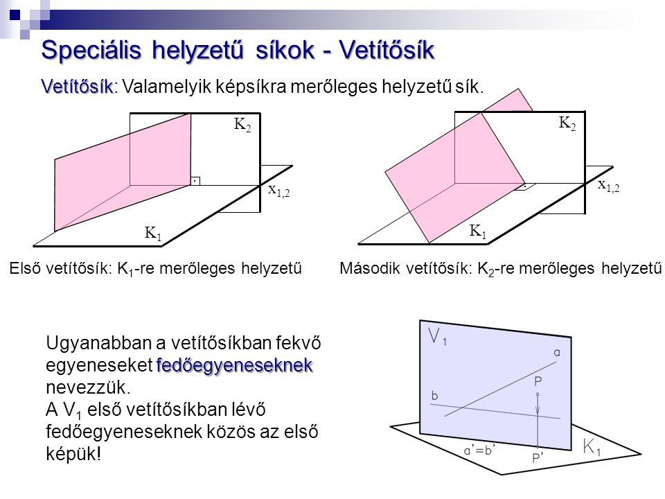 Speciális helyzetű síkok - Vetítősík Vetítősík Vetítősík: Valamelyik képsíkra merőleges helyzetű sík.