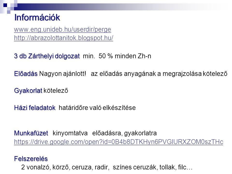 www.eng.unideb.hu/userdir/perge http://abrazolottanitok.blogspot.hu/ 3 db Zárthelyi dolgozat 3 db Zárthelyi dolgozat min.