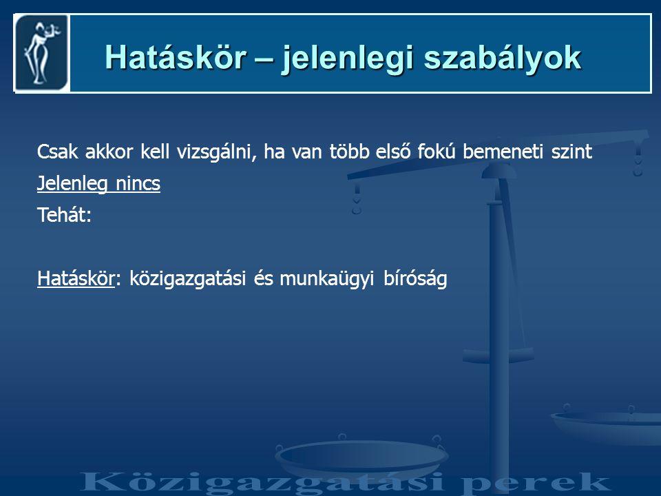 Hatáskör – tervezett szabályok Hatáskör – tervezett szabályok Közigazgatási bíróság Közigazgatási felsőbíróság Kúria Bemeneti szint (első fok) Általános ügyekKiemelt jelentőségű ügyek (pl.