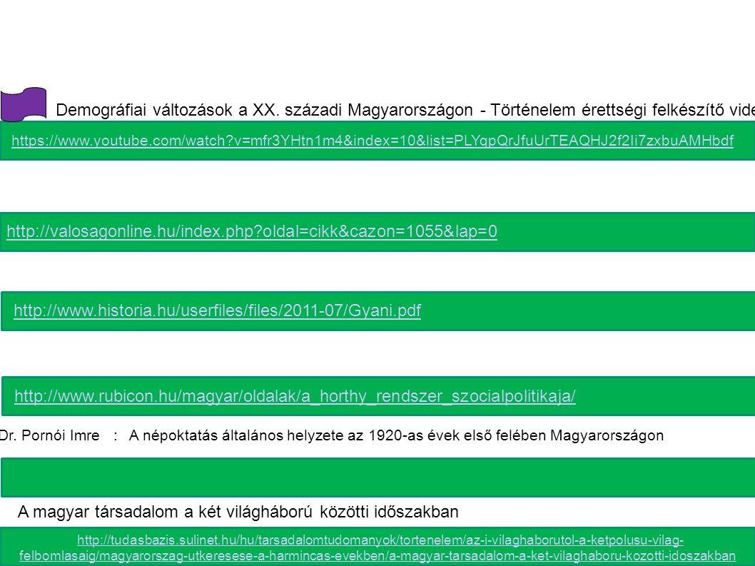 http://valosagonline.hu/index.php?oldal=cikk&cazon=1055&lap=0 http://www.historia.hu/userfiles/files/2011-07/Gyani.pdf http://www.rubicon.hu/magyar/oldalak/a_horthy_rendszer_szocialpolitikaja/ http://tudasbazis.sulinet.hu/hu/tarsadalomtudomanyok/tortenelem/az-i-vilaghaborutol-a-ketpolusu-vilag- felbomlasaig/magyarorszag-utkeresese-a-harmincas-evekben/a-magyar-tarsadalom-a-ket-vilaghaboru-kozotti-idoszakban http://tudasbazis.sulinet.hu/hu/tarsadalomtudomanyok/tortenelem/az-i-vilaghaborutol-a-ketpolusu-vilag- felbomlasaig/magyarorszag-utkeresese-a-harmincas-evekben/a-magyar-tarsadalom-a-ket-vilaghaboru-kozotti-idoszakban https://www.youtube.com/watch?v=mfr3YHtn1m4&index=10&list=PLYqpQrJfuUrTEAQHJ2f2Ii7zxbuAMHbdf Demográfiai változások a XX.