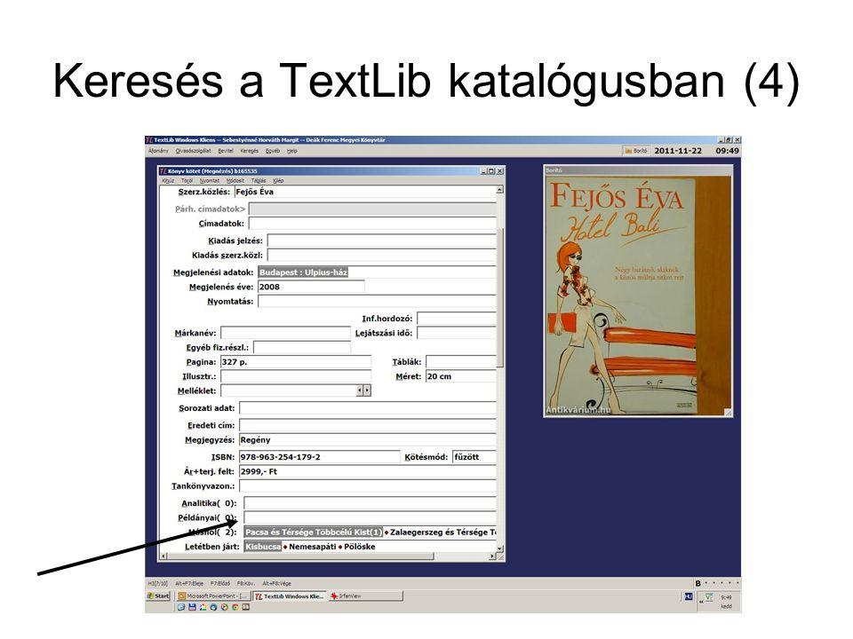 Keresés a TextLib katalógusban (4)