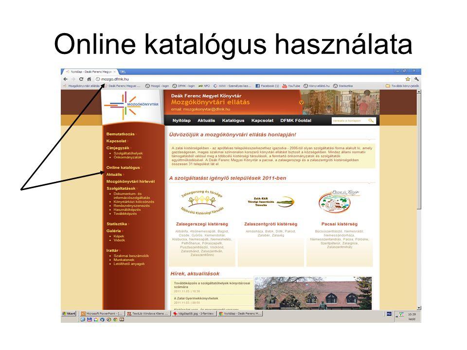 Online katalógus használata