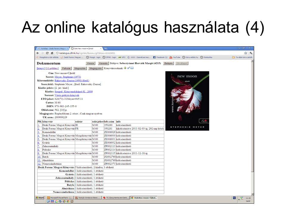 Az online katalógus használata (4)