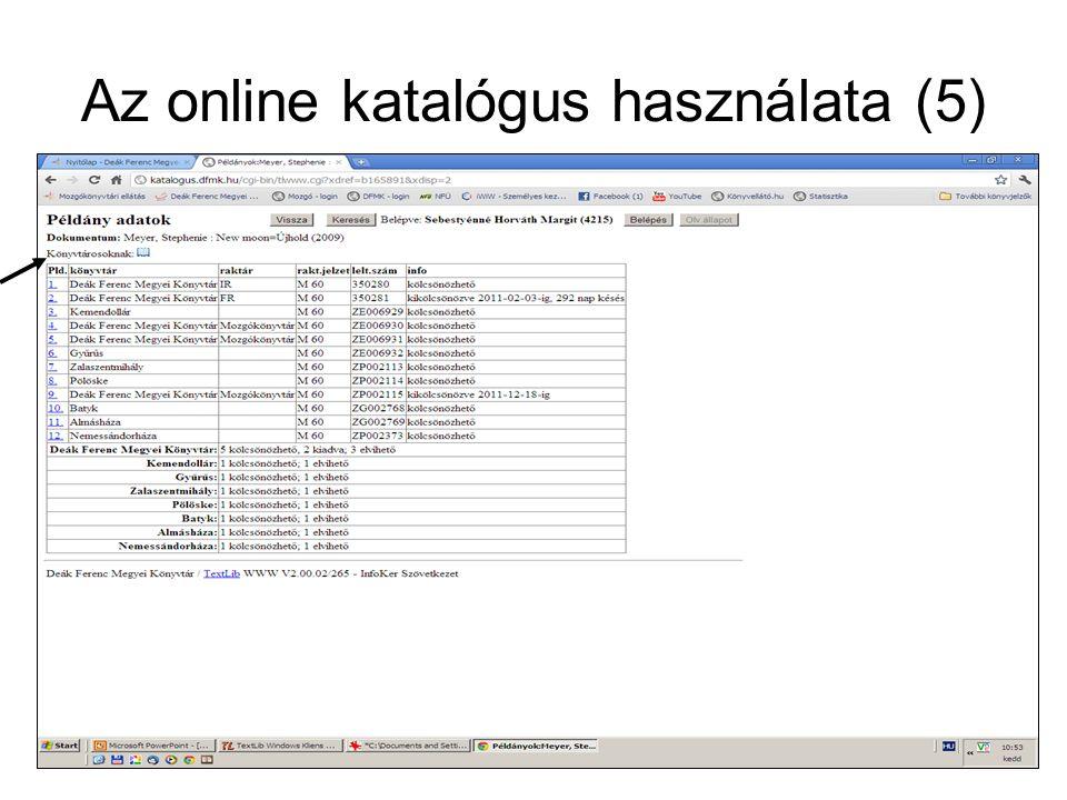 Az online katalógus használata (5)