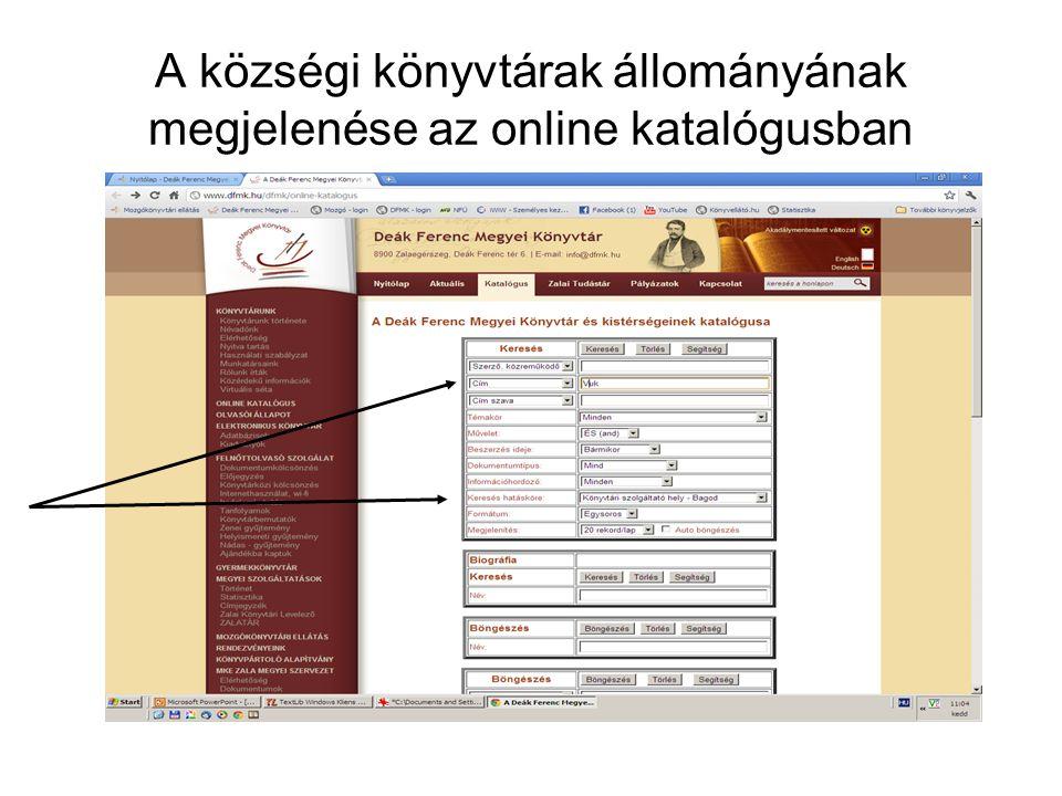 A községi könyvtárak állományának megjelenése az online katalógusban