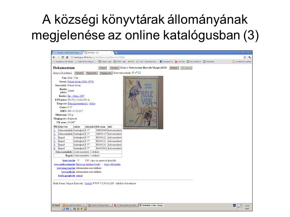 A községi könyvtárak állományának megjelenése az online katalógusban (3)