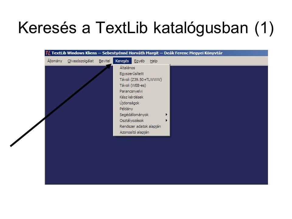 Keresés a TextLib katalógusban (1)