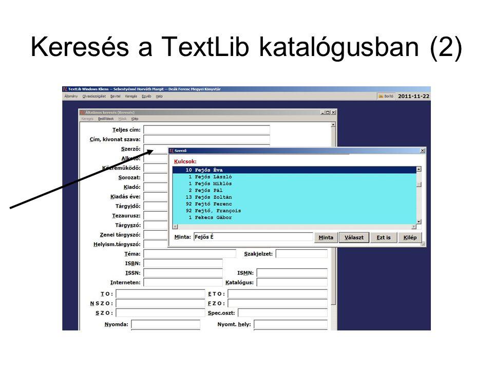 Keresés a TextLib katalógusban (2)