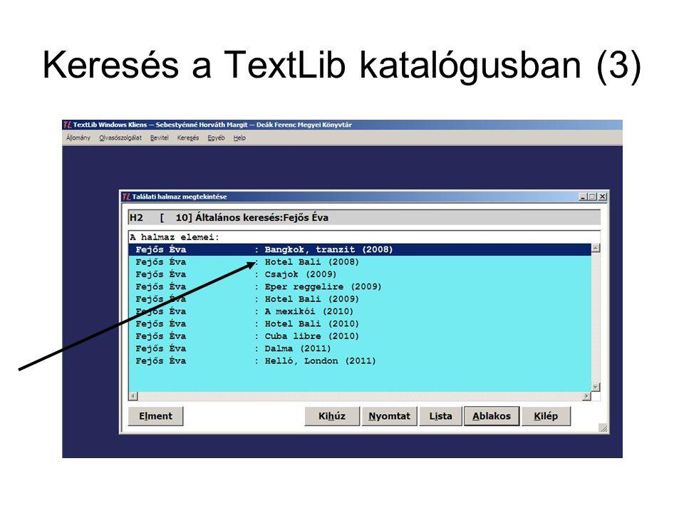 Keresés a TextLib katalógusban (3)