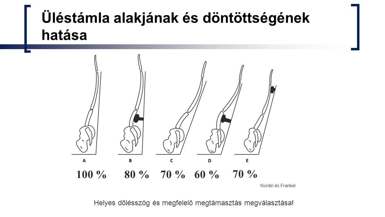 Üléstámla alakjának és döntöttségének hatása 100 %80 %70 %60 % 70 % Nordin és Frankel Helyes dőlésszög és megfelelő megtámasztás megválasztása!