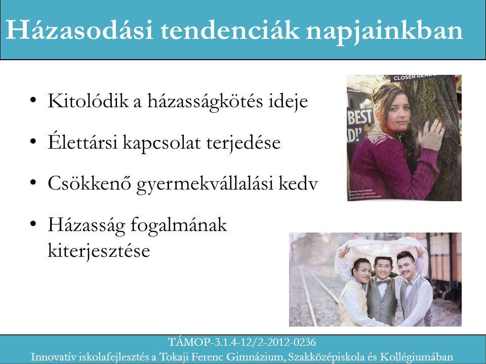 Házasodási tendenciák napjainkban Kitolódik a házasságkötés ideje Élettársi kapcsolat terjedése Csökkenő gyermekvállalási kedv Házasság fogalmának kiterjesztése TÁMOP-3.1.4-12/2-2012-0236 Innovatív iskolafejlesztés a Tokaji Ferenc Gimnázium, Szakközépiskola és Kollégiumában