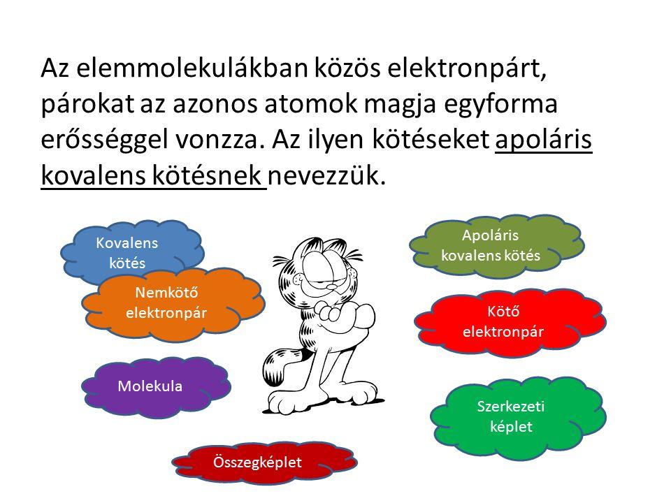Az elemmolekulákban közös elektronpárt, párokat az azonos atomok magja egyforma erősséggel vonzza.