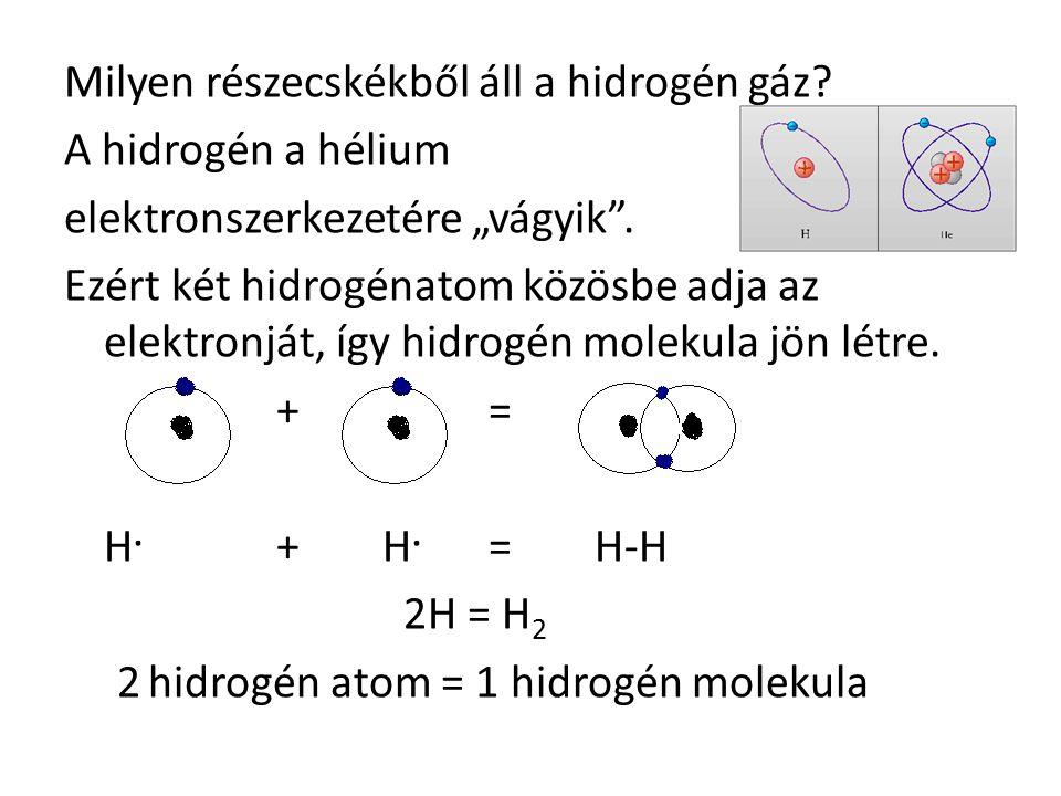 """Milyen részecskékből áll a hidrogén gáz.A hidrogén a hélium elektronszerkezetére """"vágyik ."""