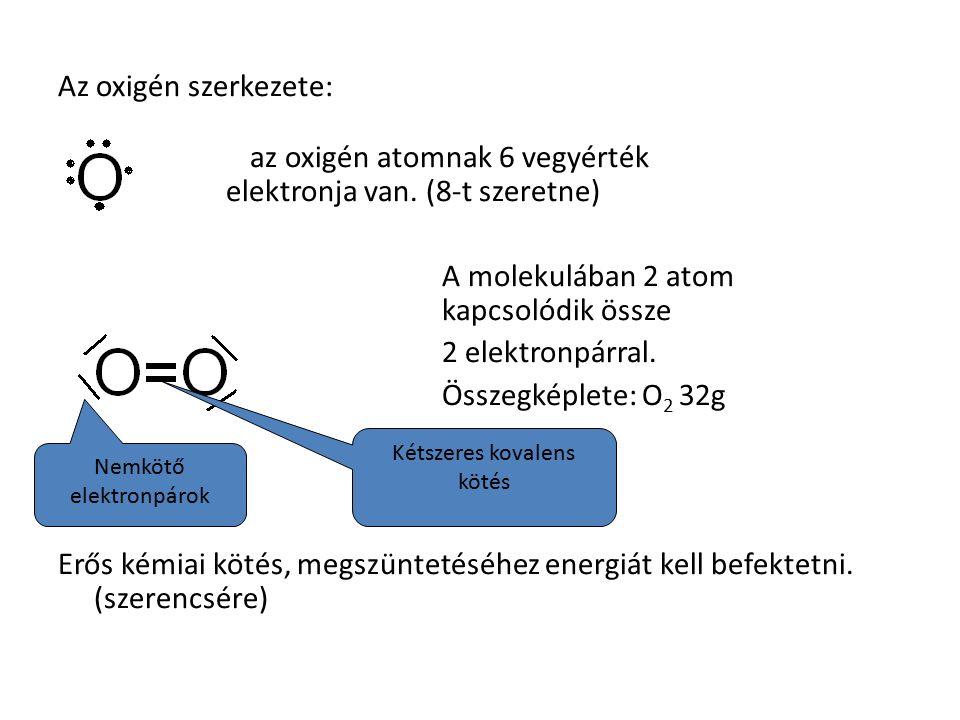 Az oxigén szerkezete: az oxigén atomnak 6 vegyérték elektronja van.