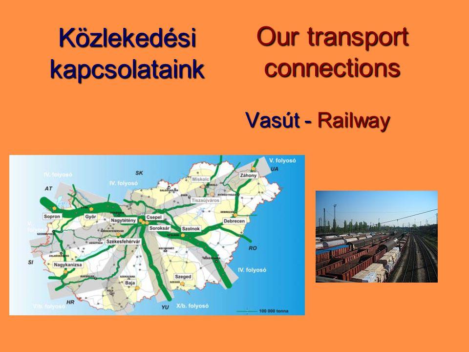 Közlekedési kapcsolataink Vasút - Railway Our transport connections
