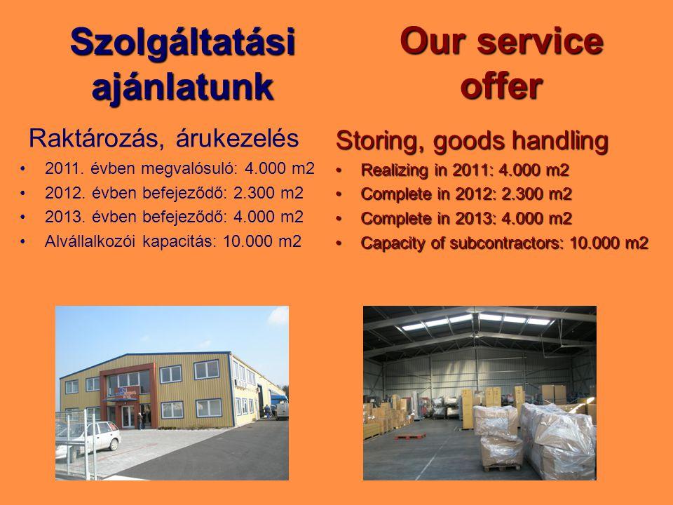 Szolgáltatási ajánlatunk Storing, goods handling Realizing in 2011: 4.000 m2Realizing in 2011: 4.000 m2 Complete in 2012: 2.300 m2Complete in 2012: 2.300 m2 Complete in 2013: 4.000 m2Complete in 2013: 4.000 m2 Capacity of subcontractors: 10.000 m2Capacity of subcontractors: 10.000 m2 Our service offer Raktározás, árukezelés 2011.
