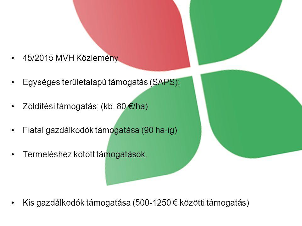 45/2015 MVH Közlemény Egységes területalapú támogatás (SAPS); Zöldítési támogatás; (kb.