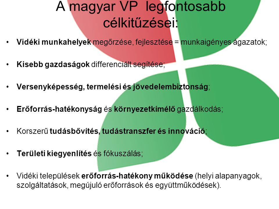 A magyar VP legfontosabb célkitűzései: Vidéki munkahelyek megőrzése, fejlesztése = munkaigényes ágazatok; Kisebb gazdaságok differenciált segítése; Versenyképesség, termelési és jövedelembiztonság; Erőforrás-hatékonyság és környezetkímélő gazdálkodás; Korszerű tudásbővítés, tudástranszfer és innováció; Területi kiegyenlítés és fókuszálás; Vidéki települések erőforrás-hatékony működése (helyi alapanyagok, szolgáltatások, megújuló erőforrások és együttműködések).