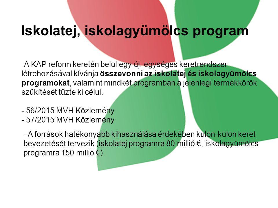 Iskolatej, iskolagyümölcs program -A KAP reform keretén belül egy új, egységes keretrendszer létrehozásával kívánja összevonni az iskolatej és iskolagyümölcs programokat, valamint mindkét programban a jelenlegi termékkörök szűkítését tűzte ki célul.