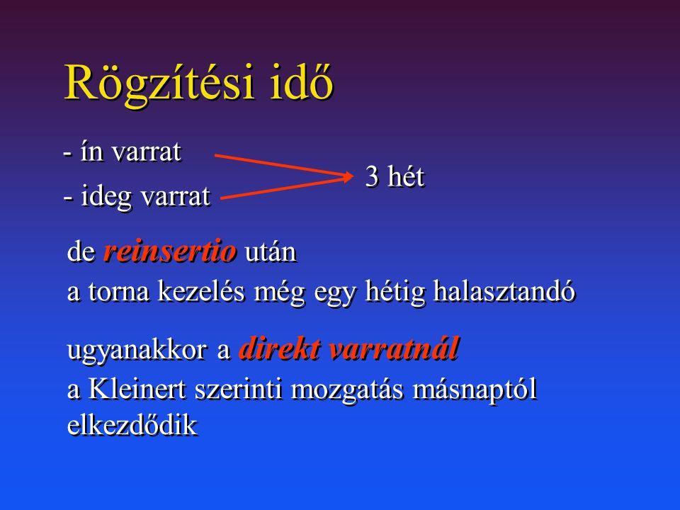 Rögzítési idő - ficam - törés 4-6 hét - ficam - törés 4-6 hét 3 hét konzervatív th.