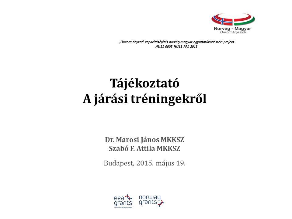 Tájékoztató A járási tréningekről Dr. Marosi János MKKSZ Szabó F.