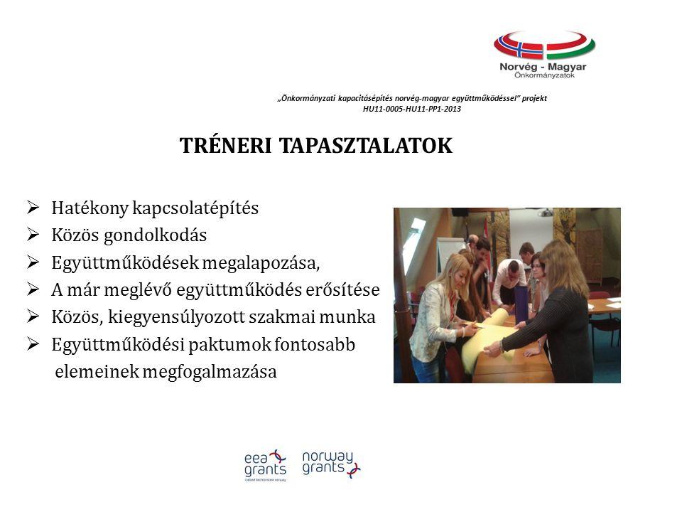 """""""Önkormányzati kapacitásépítés norvég‐magyar együttműködéssel projekt HU11-0005-HU11-PP1-2013 TRÉNERI TAPASZTALATOK  Hatékony kapcsolatépítés  Közös gondolkodás  Együttműködések megalapozása,  A már meglévő együttműködés erősítése  Közös, kiegyensúlyozott szakmai munka  Együttműködési paktumok fontosabb elemeinek megfogalmazása"""