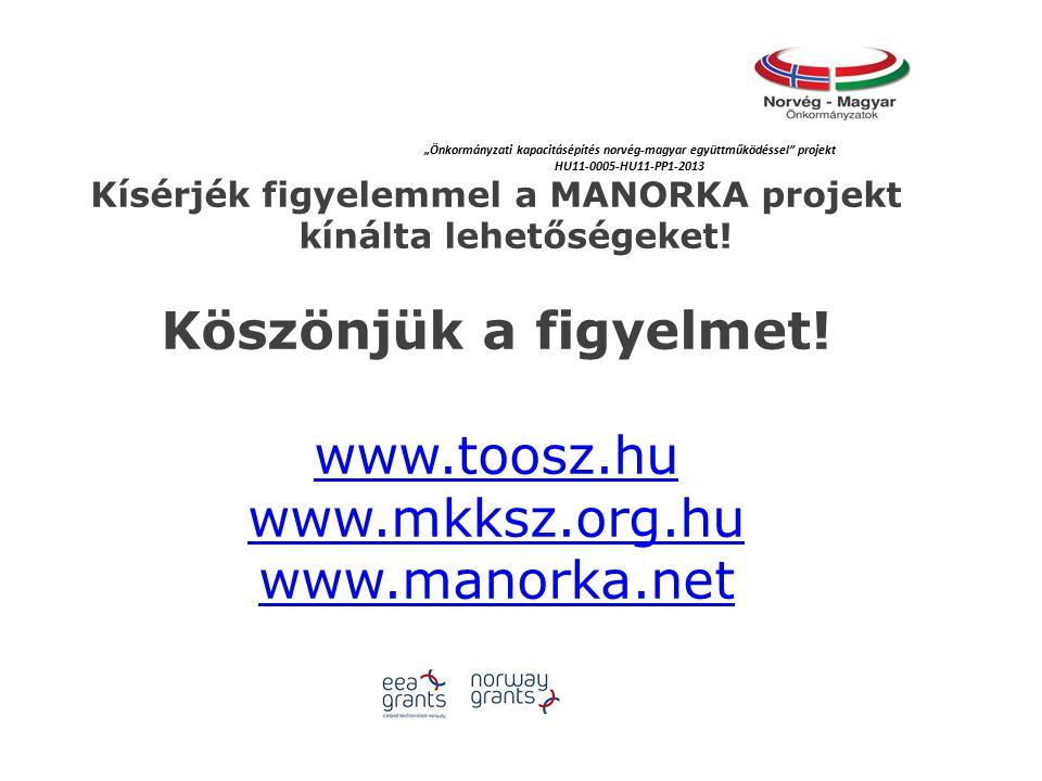 Kísérjék figyelemmel a MANORKA projekt kínálta lehetőségeket.