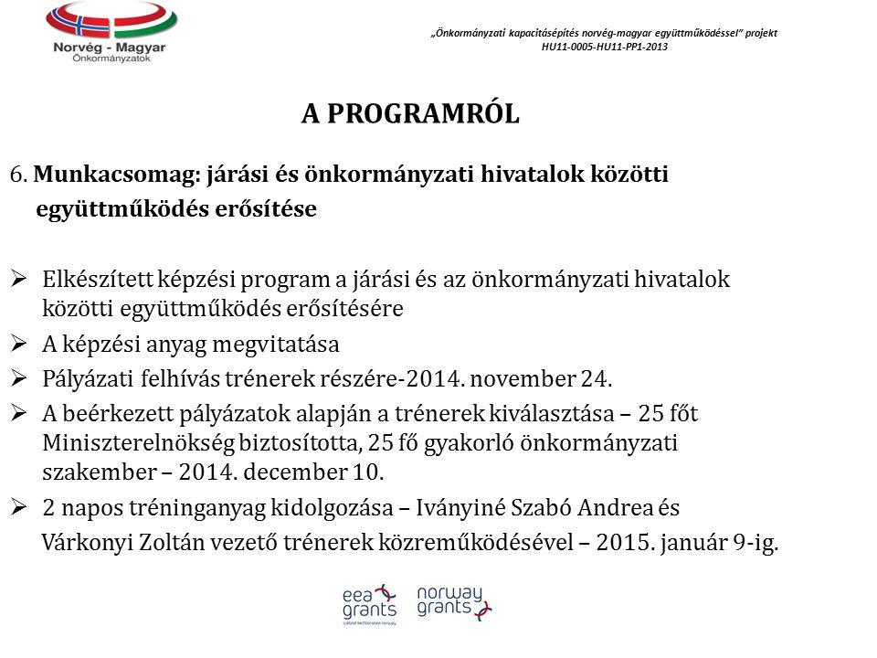 """A PROGRAMRÓL """"Önkormányzati kapacitásépítés norvég‐magyar együttműködéssel projekt HU11-0005-HU11-PP1-2013 6."""