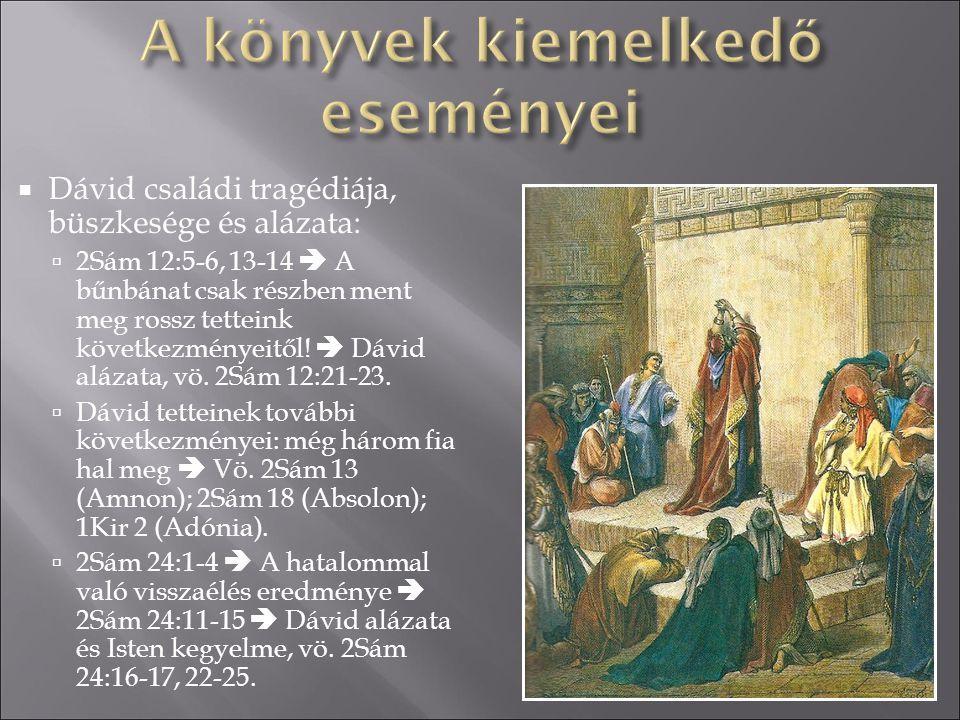  Dávid családi tragédiája, büszkesége és alázata:  2Sám 12:5-6, 13-14  A bűnbánat csak részben ment meg rossz tetteink következményeitől!  Dávid a