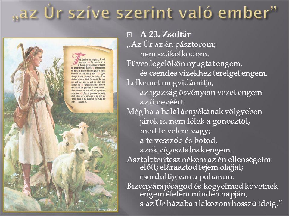 """ A 23. Zsoltár """"Az Úr az én pásztorom; nem szűkölködöm. Füves legelőkön nyugtat engem, és csendes vizekhez terelget engem. Lelkemet megvidámítja, az"""