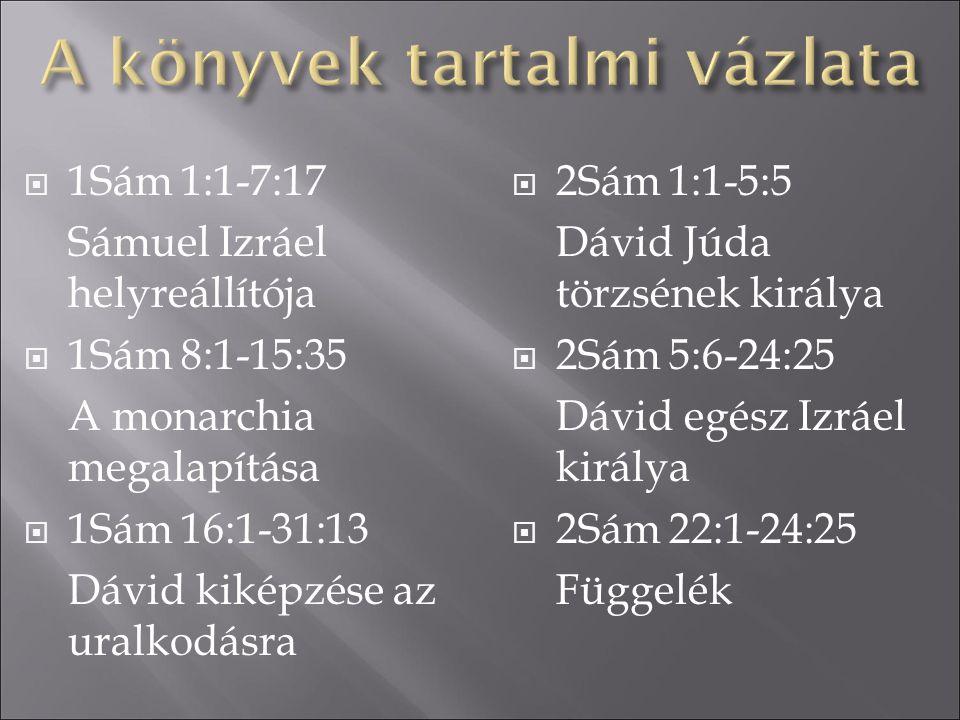  1Sám 1:1-7:17 Sámuel Izráel helyreállítója  1Sám 8:1-15:35 A monarchia megalapítása  1Sám 16:1-31:13 Dávid kiképzése az uralkodásra  2Sám 1:1-5:5