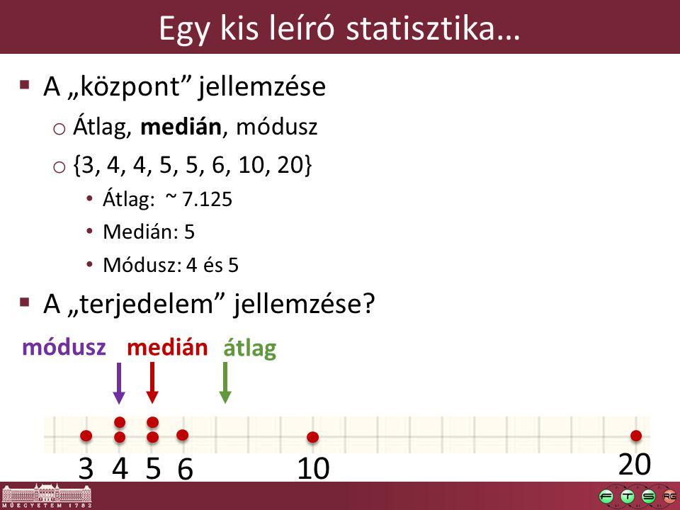 """Egy kis leíró statisztika…  A """"központ"""" jellemzése o Átlag, medián, módusz o {3, 4, 4, 5, 5, 6, 10, 20} Átlag: ~ 7.125 Medián: 5 Módusz: 4 és 5  A """""""