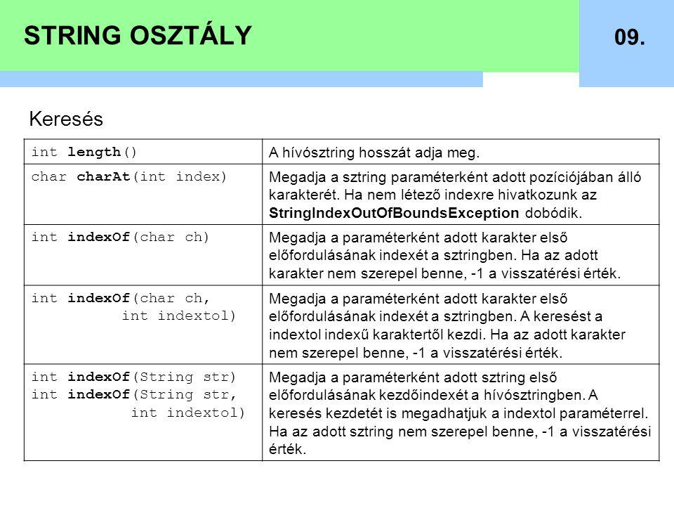 STRING OSZTÁLY 09. Keresés int length() A hívósztring hosszát adja meg. char charAt(int index) Megadja a sztring paraméterként adott pozíciójában álló