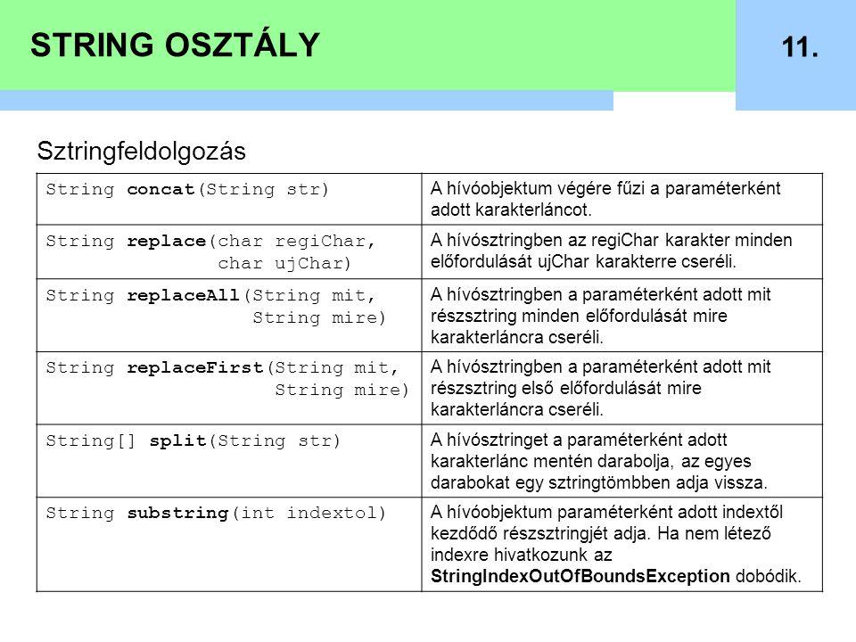 STRING OSZTÁLY 11. Sztringfeldolgozás String concat(String str) A hívóobjektum végére fűzi a paraméterként adott karakterláncot. String replace(char r