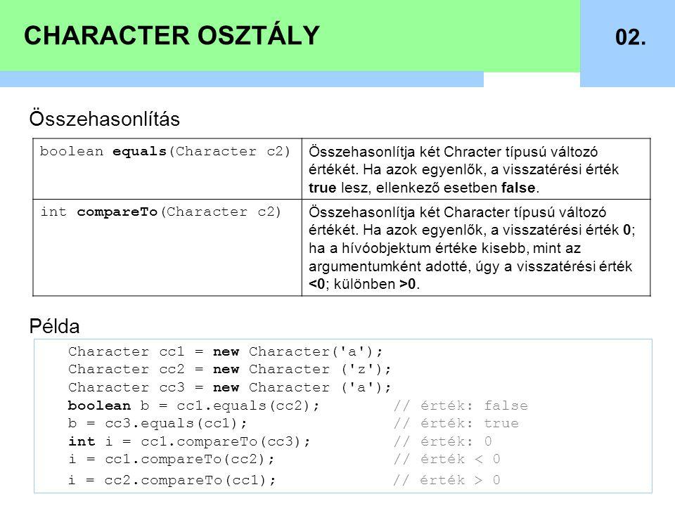 CHARACTER OSZTÁLY 02. Összehasonlítás Példa boolean equals(Character c2) Összehasonlítja két Chracter típusú változó értékét. Ha azok egyenlők, a viss