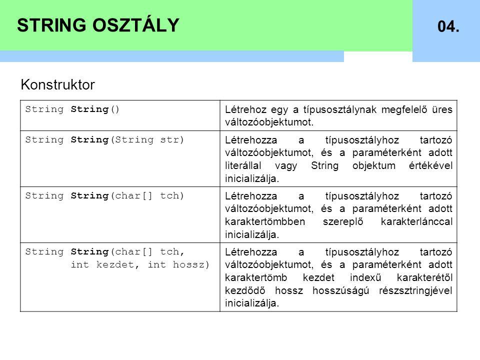 STRING OSZTÁLY 04. Konstruktor String String() Létrehoz egy a típusosztálynak megfelelő üres változóobjektumot. String String(String str) Létrehozza a