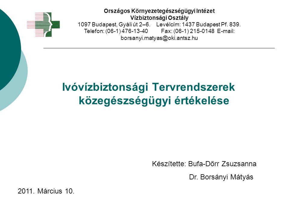 Ivóvízbiztonsági Tervrendszerek közegészségügyi értékelése Országos Környezetegészségügyi Intézet Vízbiztonsági Osztály 1097 Budapest, Gyáli út 2–6. L