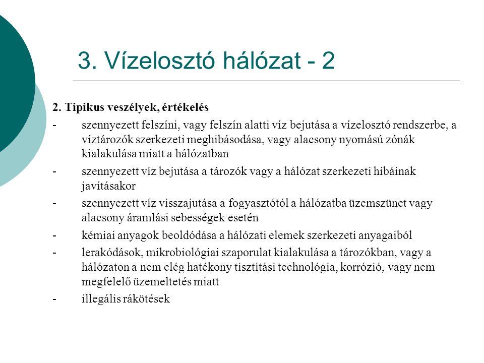 3. Vízelosztó hálózat - 2 2. Tipikus veszélyek, értékelés -szennyezett felszíni, vagy felszín alatti víz bejutása a vízelosztó rendszerbe, a víztározó