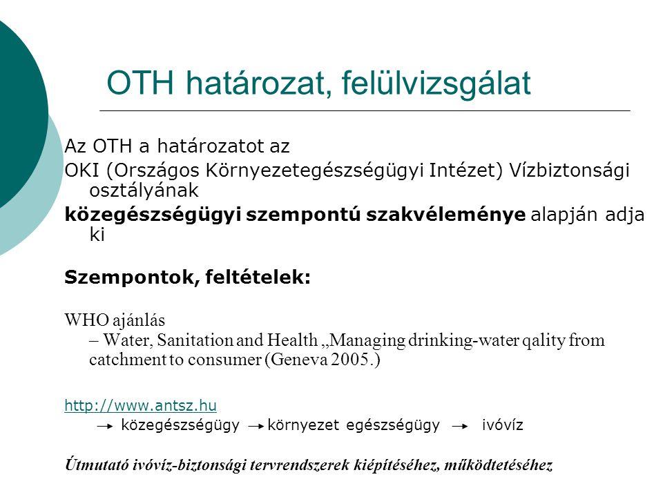 OTH határozat, felülvizsgálat Az OTH a határozatot az OKI (Országos Környezetegészségügyi Intézet) Vízbiztonsági osztályának közegészségügyi szempontú