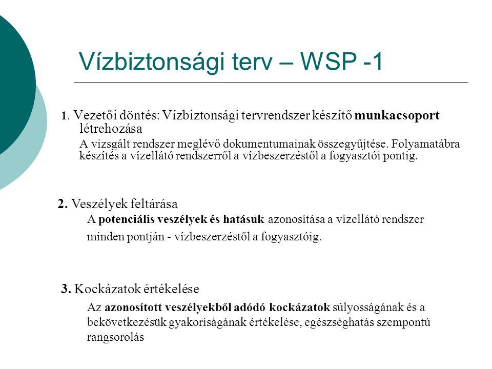 Vízbiztonsági terv – WSP -1 1. Vezetői döntés: Vízbiztonsági tervrendszer készítő munkacsoport létrehozása A vizsgált rendszer meglévő dokumentumainak