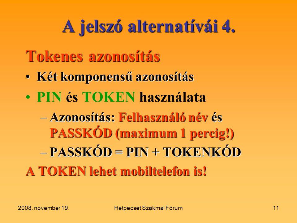 2008.november 19.Hétpecsét Szakmai Fórum11 A jelszó alternatívái 4.