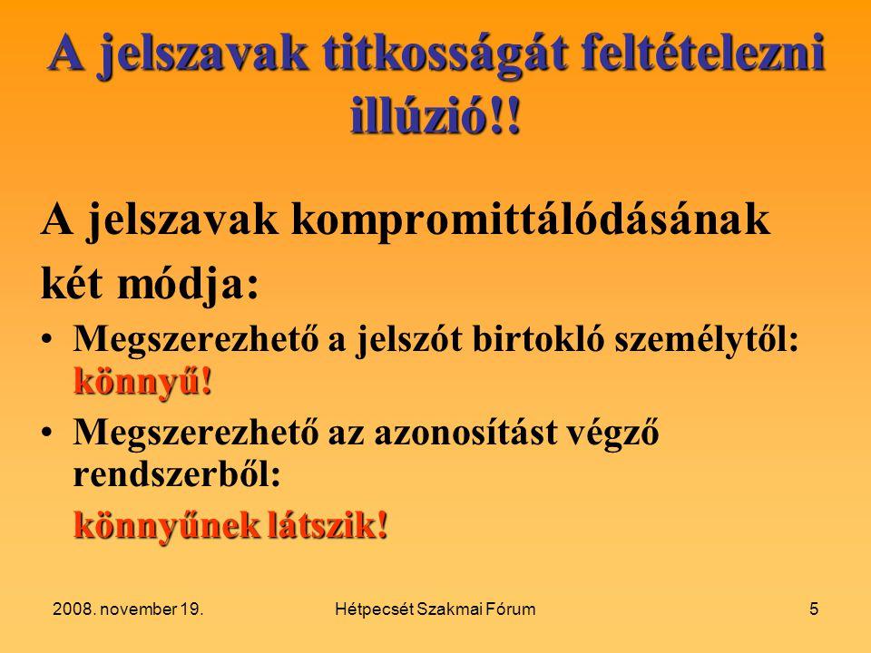 2008.november 19.Hétpecsét Szakmai Fórum5 A jelszavak titkosságát feltételezni illúzió!.