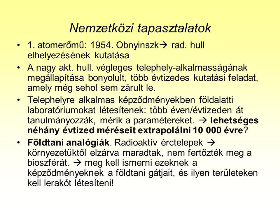 Nemzetközi tapasztalatok 1.atomerőmű: 1954. Obnyinszk  rad.