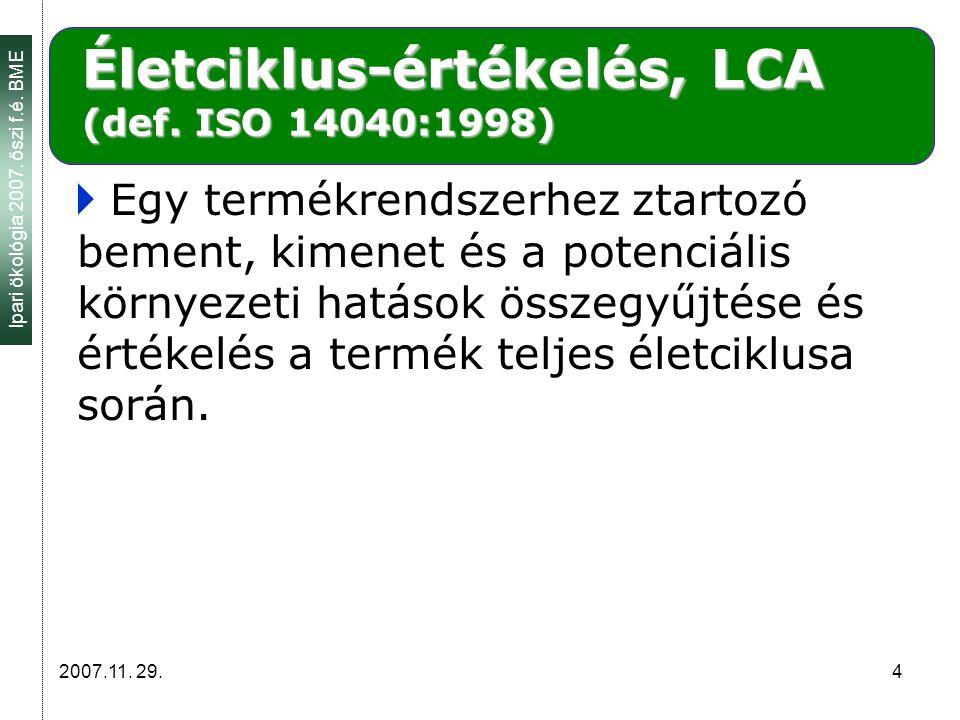 Ipari ökológia 2007. őszi f.é. BME 2007.11. 29.